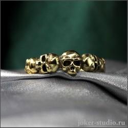 Готическое кольцо с черепами и символом девятки из бронзы - Эннеа