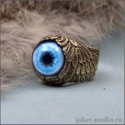 Кольцо с крыльями Ангела и глазом сибирской хаски стильное украшение талисман из бронзы