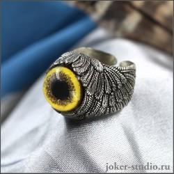 """Кольцо глаз """"Сокола"""" с крыльями ангела украшение ручной работы"""