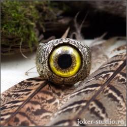Бронзовое оригинальное кольцо с крыльями и глазом сокола оригинальное ювелирное украшение