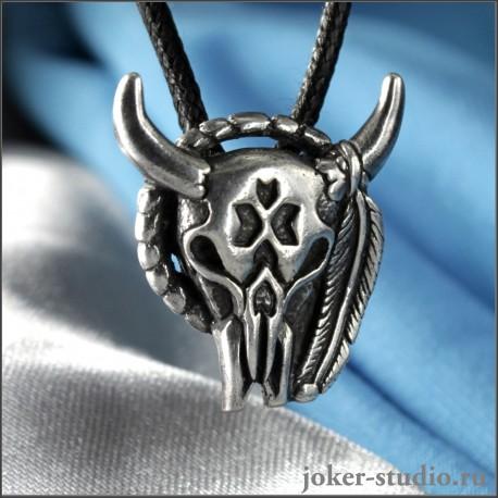 """кулон """"Череп быка"""" серебро купить в мастерской Джокер высокое качество низкая цена от производителя"""
