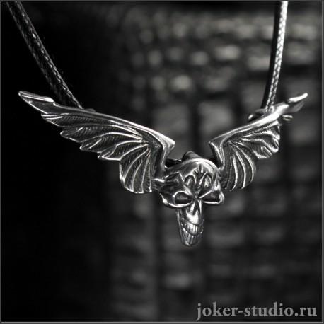 серебряный кулон череп с крыльями