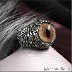 Дизайнерское кольцо с крыльями ангела и глазом соболя купить в интернет-магазине Джокер