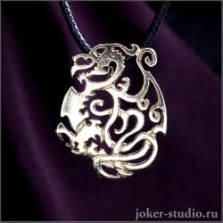 Золотой дракон кулон со скандинавским символом викингов в виде татуировки