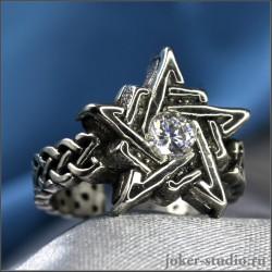 Пентаграмма кольцо с фианитом и кельтским узором женское кольцо со звездой