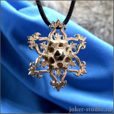 Золотой женский славянский кулон в форме звезды в мастерской Джокер