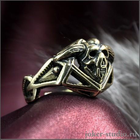 Кольцо с черепом демона Азазель мужской готический перстень в стиле темного фэнтези