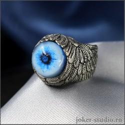 Кольцо глаз сибирской хаски с дизайнерской шинкой в форме крыльев Ангела