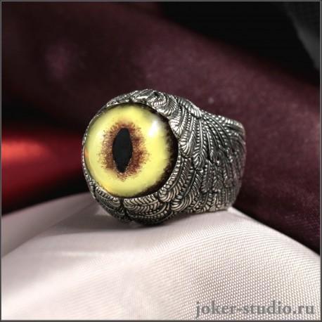 Кольцо Ангел с глазом кота оцелота от мастерской Джокер