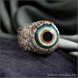 Кольцо из ювелирной бронзы с глазом пантеры черной кошки и крыльями Ангела