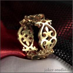 Женское тонкое кольцо с позолотой в славянском стиле купить в России