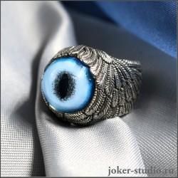 Кольцо глаз рыси в крыльях Ангела ювелирное украшение ручной работы