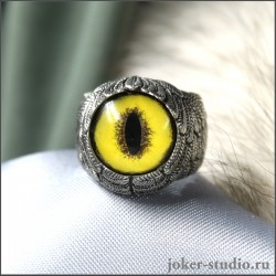 Кольцо с глазом кошки Фоссы и крыльями ангела необычной формы украшение со смыслом