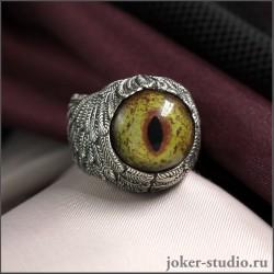 Кольцо с глазом Виверны мистического дракона в стиле фэнтези ручной работы