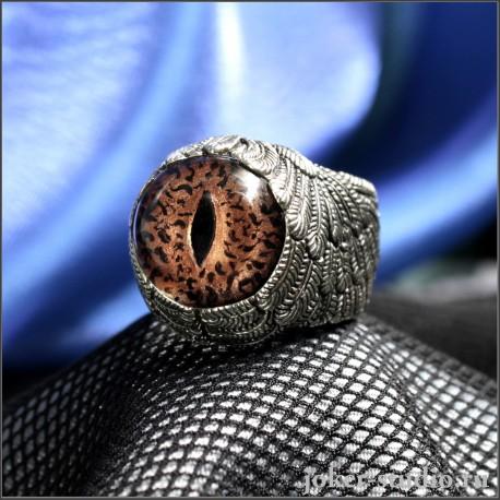 Кольцо глаз ящерицы Игуаны в форме крыльев талисман везенья и торговли оригинальное женское украшение