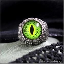 Кольцо крылья Ангела с глазом нильского крокодила авторское украшение ручной работы