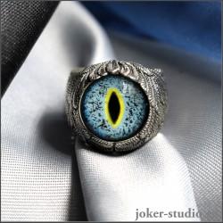 """Кольцо """"Ангел"""" в виде крыльев с глазом крокодила гавиала украшение ручной работы"""