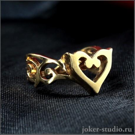Комплект бижутерии для девушки кольцо и кулон в виде креста с сердцами и эмалью