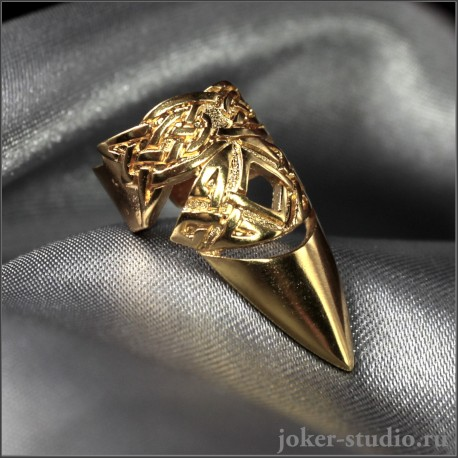 Позолоченный кольцо-коготь на ноготь с кельтским узором ювелирная бижутерия ~ Бран