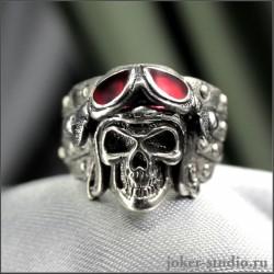 Кольцо с черепом в шлеме японского летчика камикадзе|Купить кольцо с черепом