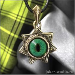 Звезда Магов кулон из золотой бронзы с зеленым глазом кота Нибелунга
