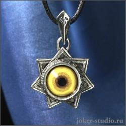 Звезда магов амулет с планетами и глазом волка авторское украшение ручной работы