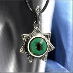 Звезда Магов септаграмма кулон с зеленым глазом кота Нибелунга