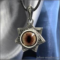 Амулет семиконечная Звезда Магов с глазом соболя украшение ручной работы