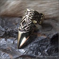 """Кольцо коготь из ювелирной бронзы """"Бран"""" украшение с кельтским узором на ногтевую фалангу"""