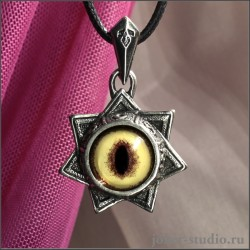 "Амулет ""Звезда магов"" с символами семи планет и глазом кота оцелота"