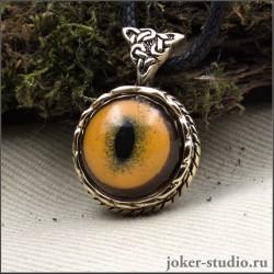"""Кельтский кулон из бронзы с глазом золотой кошки темминки женский амулет """"Друид"""""""