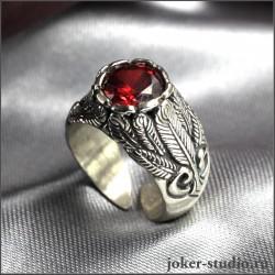 Кольцо свадебные крылья с большим белым цирконом - авторская ювелирная работа