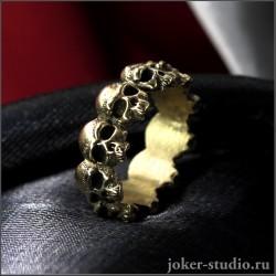 Кольцо с черепами и симвом чисела десять стильное украшение в рок-стиле - Дека