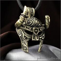 Нордский шлем мужская бронзовая подвеска древний шлем с рогами