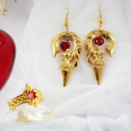 Элегантный золотой комплект украшений с сердечкаим подарок девушке
