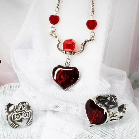 Украшения с сердечками кулон и кольца красивые подарки к 14 февраля