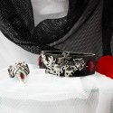 Подарок девушке 14 февраля кожаный браслет с драконом и сердечками и кольцо коготь