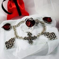 Элегантный женский комплект украшений браслет и кольцо с сердечкаим в подарок любимой 14 февраля