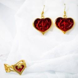 Золотой комплект бижутерии с красными сердцами в подарок девушке 14 февраля
