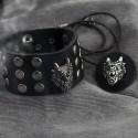 Кожаный браслет и подвеска с головой дракона