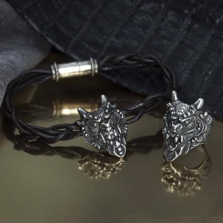Стильный браслет и кольцо с драконом в стиле фентези
