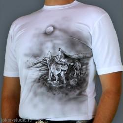 Молодежная одежда с качественным рисунком волков