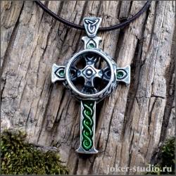 Кельтский крест кулон серебряный с эмалью
