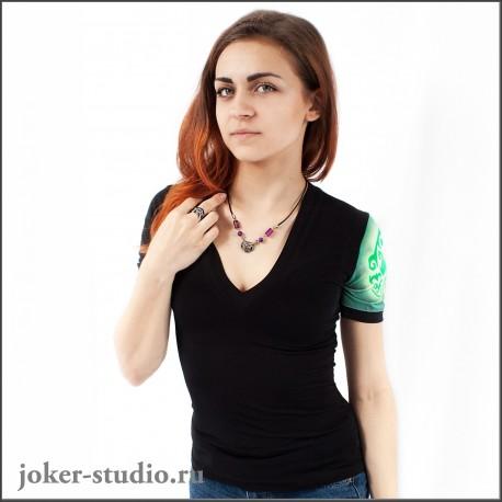 Молодежная футболка с тату рукавом