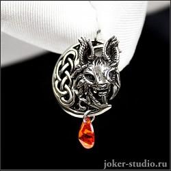 Женский кулон рысь с красным цирконом и кельтской луной ювелирное украшение