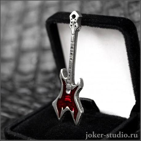 Кулон гитара Warlock с символом хэви-метал и красной эмалью