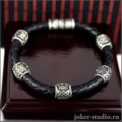 Кожаный браслет с ювелирными шармами Сварога с символом Звезда Руси