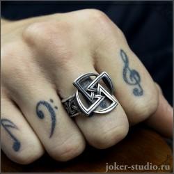 Мужское кольцо свастика со знаком Яровика славянский символ солнца