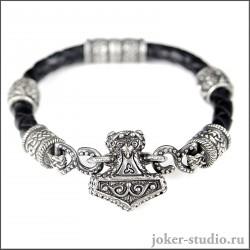 """Кожаный браслет """"Мьёльнир"""" с ювелирными шармами символом Сварога"""