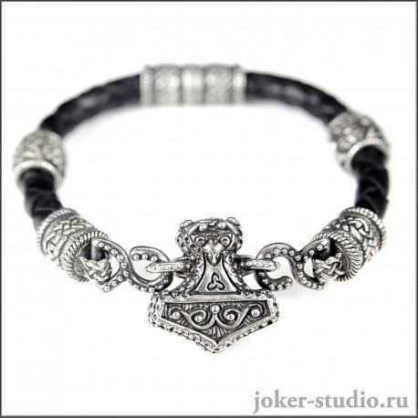 """Кожаный браслет """"Мьёльнир"""" с ювелирными шармами симмволом Сварога"""